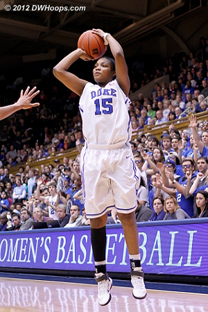 Richa hit back to back hoops that answered Carolina scores  - Duke Tags: #15 Richa Jackson