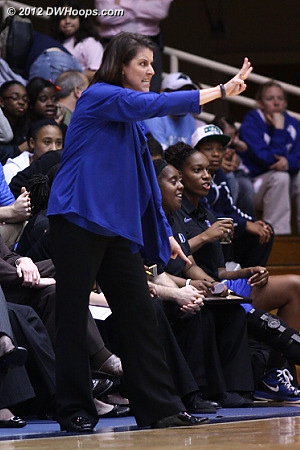 Coach P calls a fierce defensive set  - Duke Tags: Joanne P. McCallie