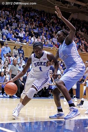 DWHoops Photo  - Duke Tags: #1 Elizabeth Williams - UNC Players: #32 Waltiea Rolle