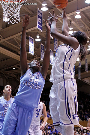 Williams scores over Rolle for a 39-21 Duke advantage  - Duke Tags: #1 Elizabeth Williams - UNC Players: #32 Waltiea Rolle