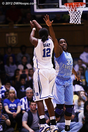 Another trey, 42-21 Duke  - Duke Tags: #12 Chelsea Gray - UNC Players: #33 Laura Broomfield