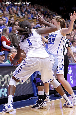 Williams steal  - Duke Tags: #1 Elizabeth Williams, #32 Tricia Liston - UNC Players: #11 Brittany Rountree