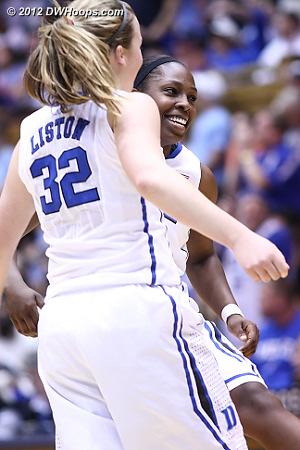Celebrating the trey  - Duke Tags: #12 Chelsea Gray, #32 Tricia Liston