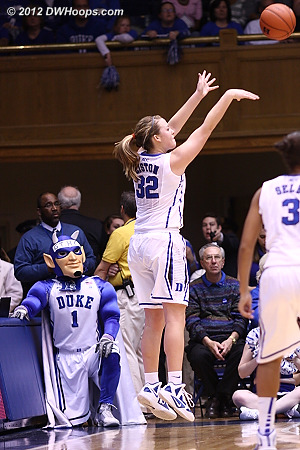 Tricia hits a corner three - 48-22 Duke just before halftime  - Duke Tags: #32 Tricia Liston