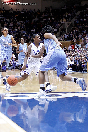 A classic Chelsea Gray no-look pass freezes TRP  - Duke Tags: #12 Chelsea Gray - UNC Players: #44 Tierra Ruffin-Pratt