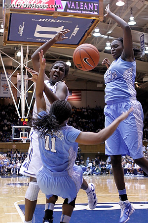 Oops, charge, that's foul #4 and a nice play by Rountree  - Duke Tags: #1 Elizabeth Williams - UNC Players: #11 Brittany Rountree, #32 Waltiea Rolle