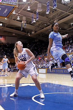 Tricia Liston neatly stops in the break as Rountree can't  - Duke Tags: #32 Tricia Liston - UNC Players: #11 Brittany Rountree