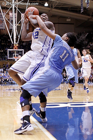Chelsea Gray draws a foul in transition  - Duke Tags: #12 Chelsea Gray - UNC Players: #11 Brittany Rountree