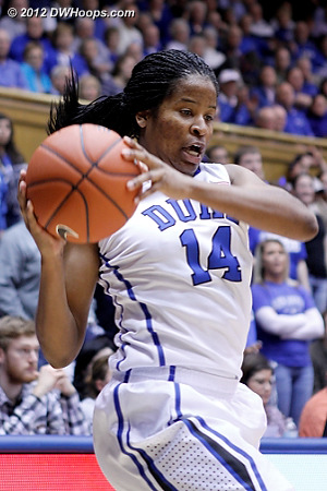 Ka'lia Johnson tries to avoid the baseline but can't  - Duke Tags: #14 Ka'lia Johnson