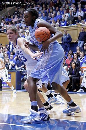 Still battling inside  - Duke Tags: #43 Allison Vernerey - UNC Players: #32 Waltiea Rolle
