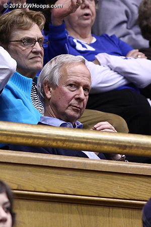 President Brodhead looks on from above, we just missed a shot of him dancing during a time out  - Duke Tags: Fans