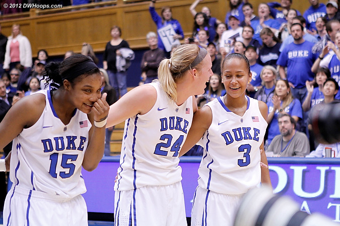 DWHoops Photo  - Duke Tags: #3 Shay Selby, #15 Richa Jackson, #24 Kathleen Scheer