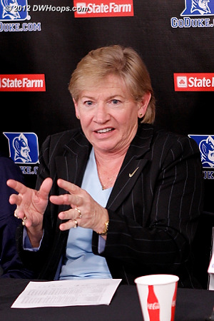 Responding to a question from Rob, Coach Hatchell discusses how hard it was to get the ball into the hole in the middle of Duke's zone  - UNC Players: Head Coach Sylvia Hatchell