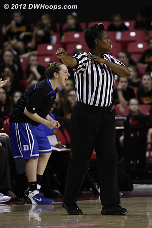 Jenna Frush cheers an offensive foul called on Maryland by Angie Lewis  - Duke Tags: #35 Jenna Frush