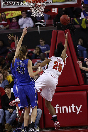 Maryland was generally out of sync to start, including taking off-balance shots like this one  - MD Players: #25 Alyssa Thomas
