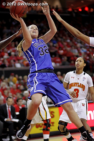 Liston tries to hit from the paint during a significant Duke drought  - Duke Tags: #32 Tricia Liston