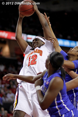 Yet another offensive rebound for Maryland, and a foul whistled on Johnson  - Duke Tags: #14 Ka'lia Johnson - MD Players: #12 Lynetta Kizer