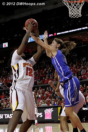 Battle for a rebound  - Duke Tags: #43 Allison Vernerey - MD Players: #12 Lynetta Kizer