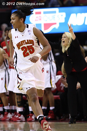 Alyssa Thomas heads downcourt as Brenda Frese shouts out the Maryland defense  - MD Players: #25 Alyssa Thomas, Head Coach Brenda Frese