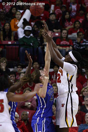 Terps go up three  - Duke Tags: #43 Allison Vernerey - MD Players: #12 Lynetta Kizer