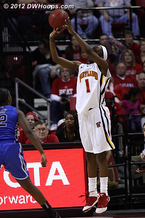 Mincy again left open, this time she hits from the corner, 58-54 Terps with 3:36 left  - MD Players: #1 Lauren Mincy