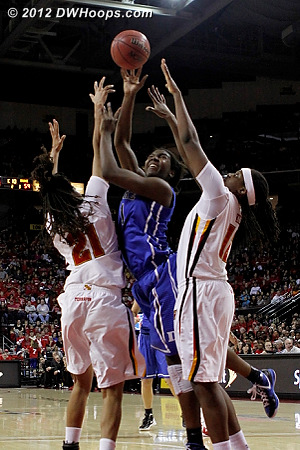Elizabeth Williams was well guarded, unable to sink this jumper with 1:09 left  - Duke Tags: #1 Elizabeth Williams - MD Players: #12 Lynetta Kizer, #21 Tianna Hawkins