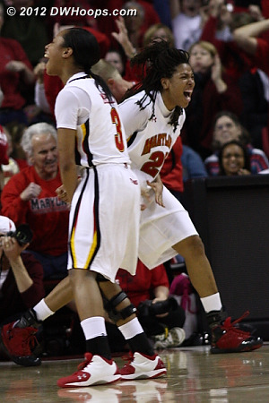 Terps celebrate the hoop and harm  - MD Players: #3 Brene Moseley, #21 Tianna Hawkins