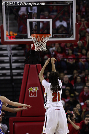 Terps led 61-59 with 43 ticks  - MD Players: #21 Tianna Hawkins