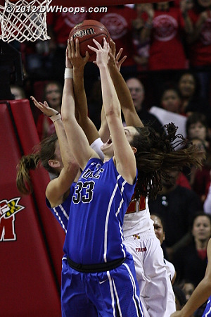 Hawkins beats out Peters and Gray for the ultimate offensive rebound  - Duke Tags: #33 Haley Peters, #43 Allison Vernerey - MD Players: #21 Tianna Hawkins