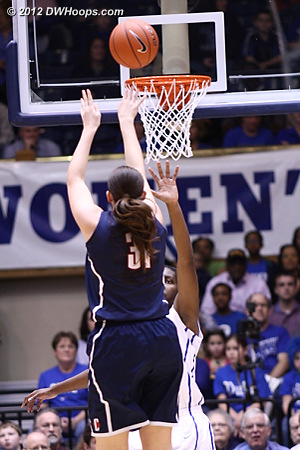 In the first four minutes Dolson scored six of UConn's eight points and was charged with two fouls  - CONN Players: #31 Stefanie Dolson