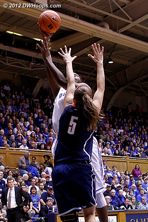 Duke's first basket came from Williams  - Duke Tags: #1 Elizabeth Williams - CONN Players: #5 Caroline Doty