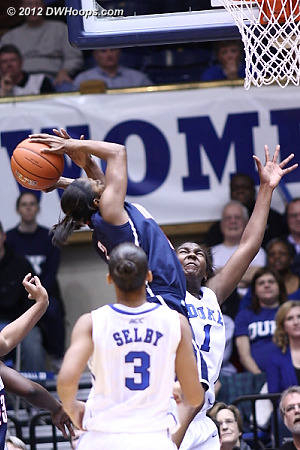 Rejection by Williams  - Duke Tags: #1 Elizabeth Williams - CONN Players: #3 Tiffany Hayes