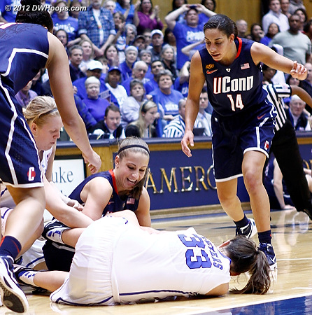 One of many tie-up scrambles  - Duke Tags: #33 Haley Peters - CONN Players: #5 Caroline Doty, #14 Bria Hartley