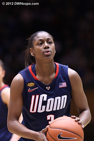 One of two from the stripe puts UConn up by ten  - CONN Players: #3 Tiffany Hayes