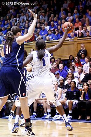 Receiving an entry pass far from the paint  - Duke Tags: #1 Elizabeth Williams - CONN Players: #31 Stefanie Dolson
