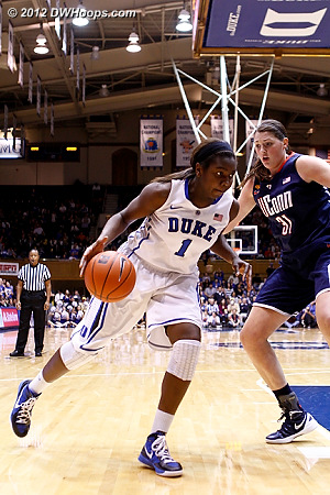 Williams drives on Dolson - beginning of a multi-frame sequence for members  - Duke Tags: #1 Elizabeth Williams - CONN Players: #31 Stefanie Dolson