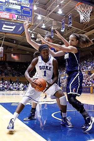 Double-team comes from Doty  - Duke Tags: #1 Elizabeth Williams - CONN Players: #5 Caroline Doty, #31 Stefanie Dolson