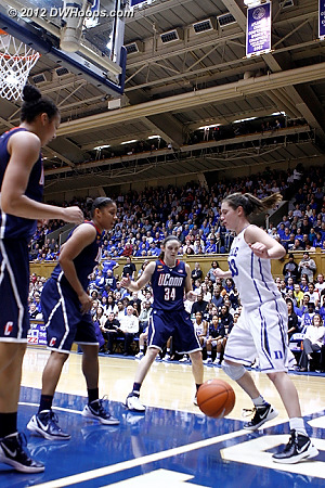 Stokes then knocked the ball off Peters out of bounds  - Duke Tags: #33 Haley Peters - CONN Players: #41 Kiah Stokes