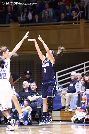 Doty hits from the corner to put UConn up 13  - CONN Players: #5 Caroline Doty