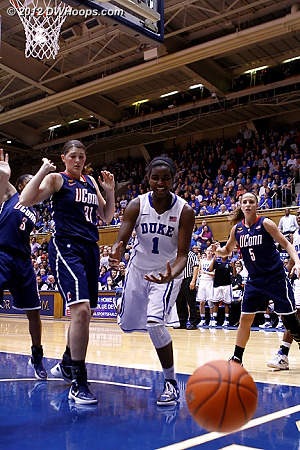 Out off of Williams  - Duke Tags: #1 Elizabeth Williams - CONN Players: #31 Stefanie Dolson