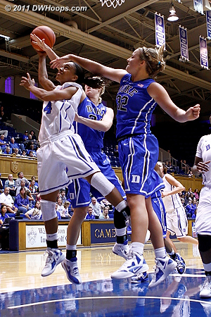 Scheer got the foul from behind  - Duke Tags: #32 Tricia Liston, #4 Chloe Wells