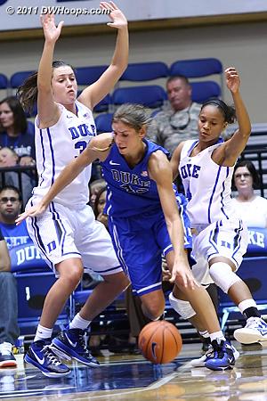 Alli puts it on the deck  - Duke Tags: #43 Allison Vernerey, #33 Haley Peters, #4 Chloe Wells