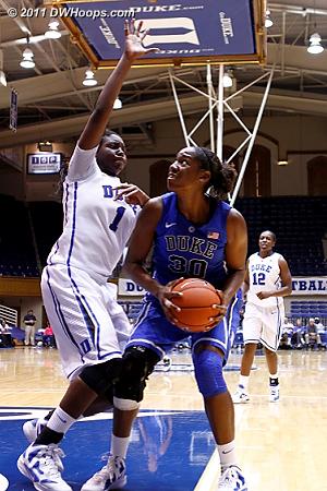 Freshmen meet in the paint  - Duke Tags: #30 Amber Henson, #1 Elizabeth Williams