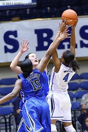 DWHoops Photo  - Duke Tags: #33 Haley Peters, #15 Richa Jackson, #4 Chloe Wells
