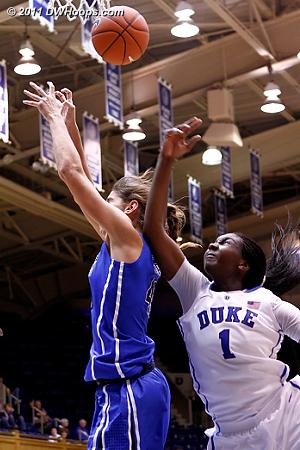 Continued physical play  - Duke Tags: #43 Allison Vernerey, #1 Elizabeth Williams
