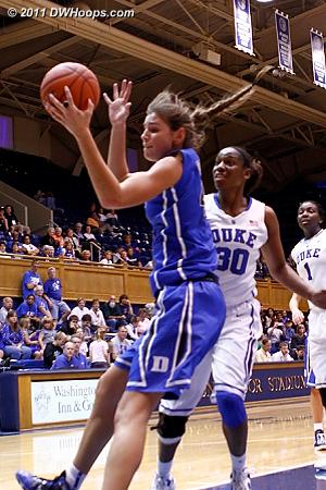Alli in transition  - Duke Tags: #43 Allison Vernerey, #30 Amber Henson