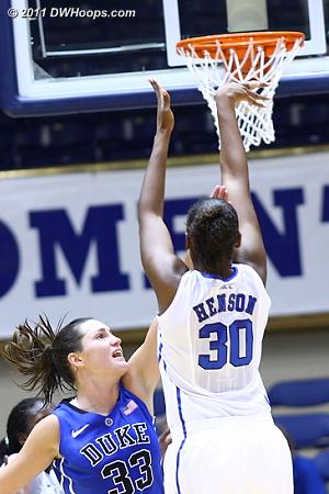Henson hits from long range  - Duke Tags: #33 Haley Peters, #30 Amber Henson