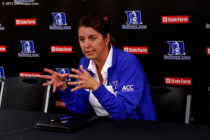 Coach P in the media room  - Duke Tags: Joanne P. McCallie