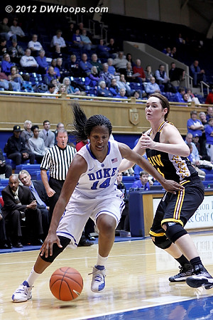 Ka'lia turns the corner  - Duke Tags: #14 Ka'lia Johnson - SHAW Players: #41 Jessica Anderson