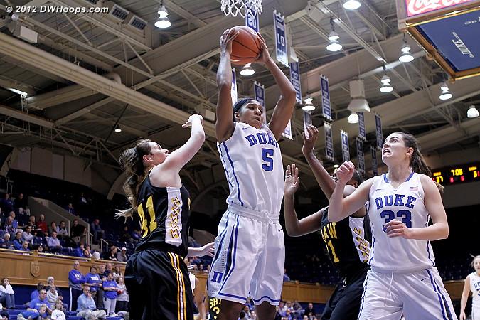 Moore grabs a rebound  - Duke Tags: #5 Sierra Moore, #33 Haley Peters